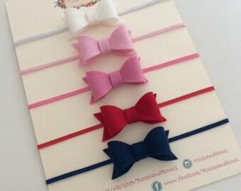 Small Felt Bow Elasticated Stretch Baby Girl/ Girl Headband Sizes Newborn- Adult. Choice of Colours