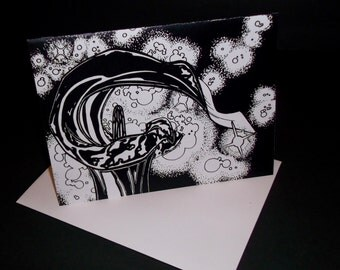 """Jack-in-Pulpit Flower In Space Greeting Card, """"I love you to the moon and back,"""" Original Art"""