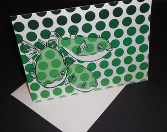 "Green-Spotted Pufferfish ""Hello"" Greeting Card, Original Art"