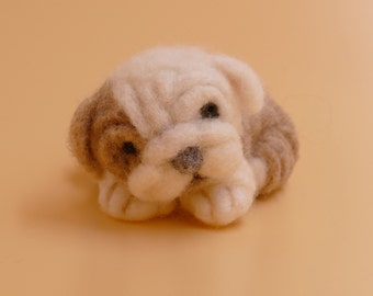 English Bulldog puppy: needle felted wool sculpture