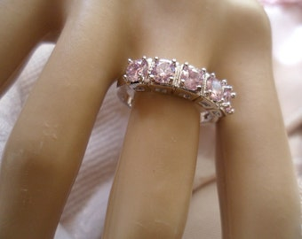 Antique vintage White Gold ring with Sapphire Pink stones ring size 8 or Q