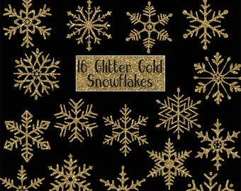 GLITTER GOLD SNOWFLAKES Digital ClipArt: Sparkle, frozen, winter, Christmas Printable Glitter Gold snowflakes clip art, Transparent Png