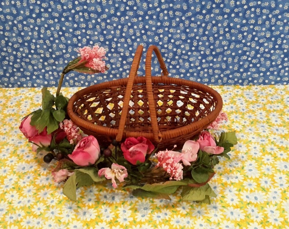 Tiny Wicker Basket With Handle : Small oval wicker basket with handles kitchen storage