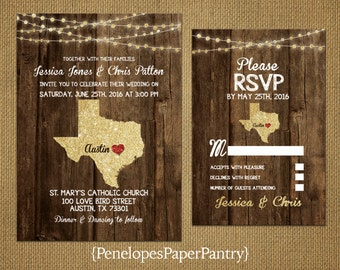State of Texas Destination Wedding Invitations,Rustic,Gold Glitter Print,Strands of Lights,Red Heart,Opt RSVP,Customizable With Envelopes