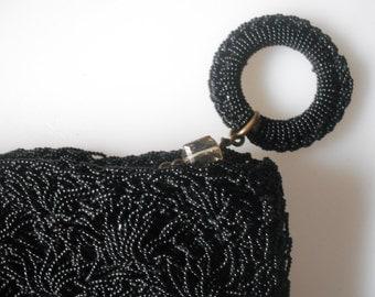 vintage crochet 50s clutch bag
