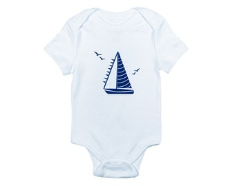 Sailboat bodysuit and tee is a great nautical baby shower or birthday gift