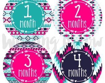 Baby Monthly Milestone Stickers - Baby Girl Month Sticker Monthly Baby Shower Gift - First Year Belly Stickers - 12 Months - Month by Month