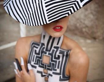 Bespoke Black & White Hat/Fascinator/Headpiece