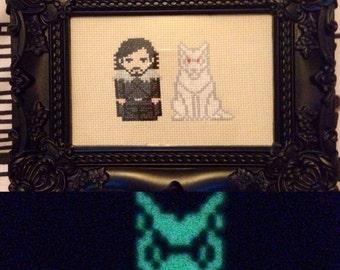 Jon Snow and Glow in the Dark Ghost Cross Stitch