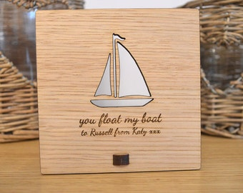 """Valentines Day """"You Float My Boat"""" Plaque - Personalised Oak Wooden Sign"""