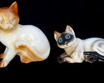Vintage Kitten Figurines ENESCO Blue Eyed Ceramic Kitty Cats Siamese and Red Orange Tabby Cat Mid Century Collectible Animal Figurines