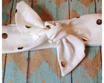 Ivory and Gold Headband-Gold-Dots-Tie-knot headband-Baby Girl