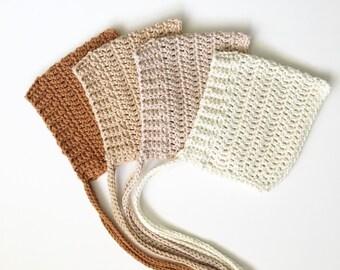 100% Cotton Crochet Ribbed Pixie Bonnet