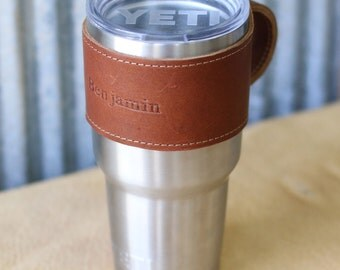 The Rocket City for 30 oz Yeti Personalized Leather Drink Cooler Wrap with Handle in Brown for YETI Rambler Tumbler Tumblers - Yeti Handle