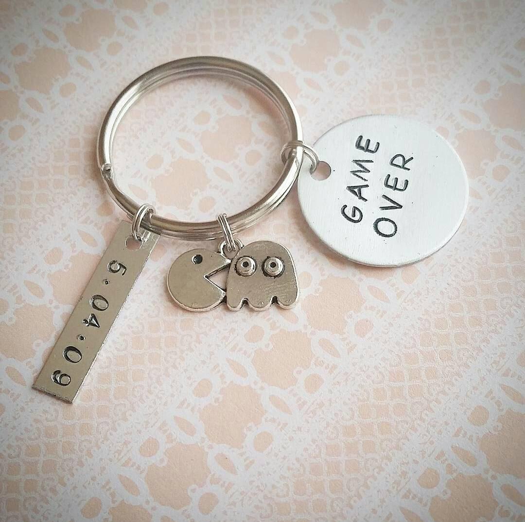 Custom Anniversary Gift Game Over Keychain Video Gifts