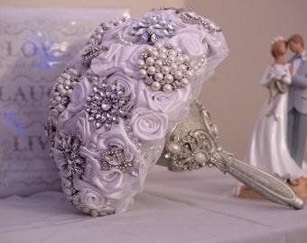 Custom Ribbon and Brooch Bouquet - Bridal Bouquet - Wedding Flowers
