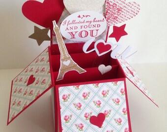 Handmade Valentine's Card, Pop up Heart Love Card, I Love You Card
