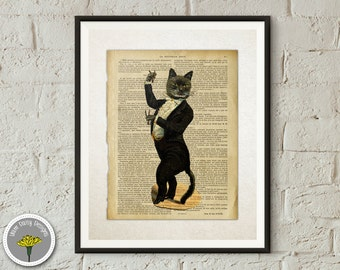 "Gentleman Dancing Cat, Dictionary Art, Printable, Instant Download, Poster, Print 11x14"", PERSONAL USE ONLY"