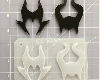ON SALE Maleficent Horns flexible plastic resin mold set (2 cavity)