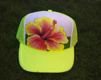 Hand painted hat- Hibiscus