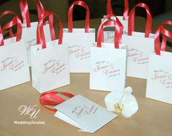 Wedding Gift bags for guests - Custom Personalized Wedding welcome Bags with Coral satin ribbon and names - Wedding favors