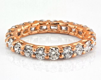 2.95ct Floating Round Diamond in 14K Rose Gold Eternity Wedding Band Ring - Size 5.75