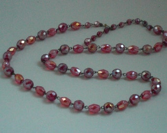 Saltire (159) Red Crystal Aurora Borealis, early 1940's