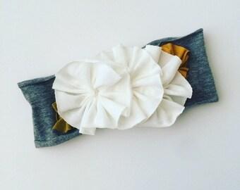 Flowered jersey knit headband    ivory