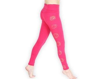 Chakra Yoga Pants- Lightweight 7 Chakra Yoga Tights- Fold At Waist Tapered Leggings- YPA Pink