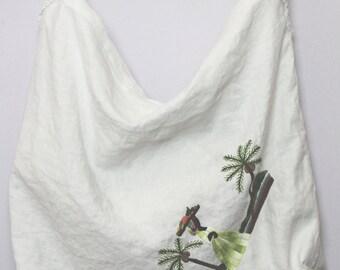 Boho Chic Upcycled Vintage Linen Messenger/Shoulder Bag
