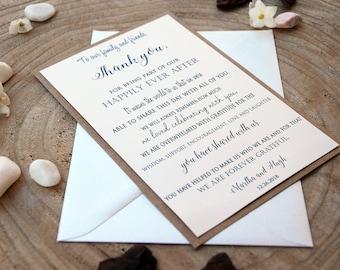 Simple Wedding Thank You Cards Kraft Wedding Thank you cards Custom Thank You Cards Notes