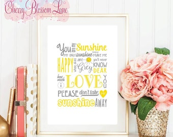 Wall Art Print - You are My Sunshine Yellow - Free Shipping