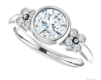 Bezel Set Solitaire Engagement Ring - 1.04ct Forever One Moissanite 14k White Gold and Diamonds