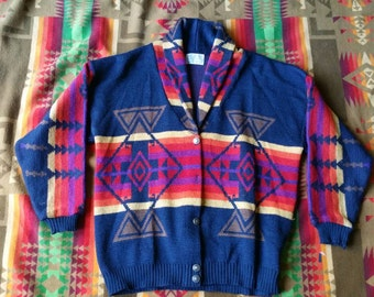 Vintage Pendleton native sweater shawl collar size large