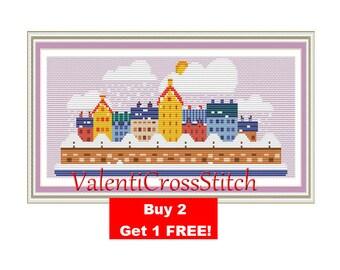 Modern Cross Stitch Pattern-Patterns-Cross Stitch-City-Town-Snow-Modern-Little-Small-PDF
