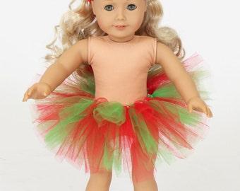 "18"" American Girl Doll Christmas Tutu & Headbands - American Girl Tutu - American Girl Clothes"