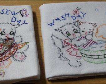 Three Cats Kittens Kitchen Flour Sack Dish Towel Set of 7