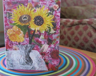 "Greeting Card ""Sunflowers""  based on Cynthia Shaw's mixed media art www.IridianCards.com"