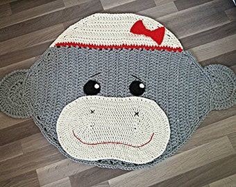 Crochet sock monkey rug - girls boys nursery room decor