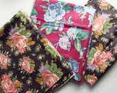 Elegant Polished Cotton - Big Roses - 3 Separate Pieces - Total Over 3 Yards