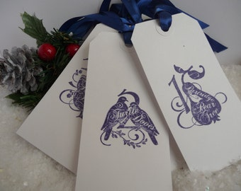 twelve days of Christmas gift tags handmade dark blue