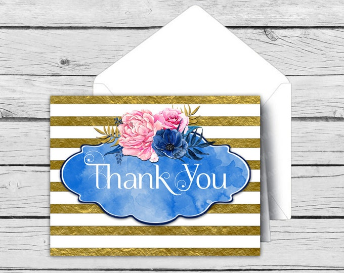 Printed THANK YOU Note Card Set - Indigo Blue - Motivational Cards, Positive Inspiration, Printed Thank You Cards, Stationery