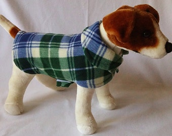 Dog or Cat Fleece Sweater Coat Clothes with Velcro Blue and Green Plaid