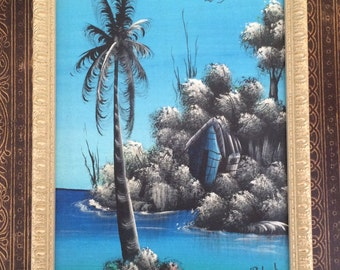 Rare Vintage Framed Painting Jamaica D. Roberts Turquoise Ocean Palm Tree