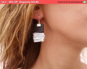 Silver dangle earrings, geometric shape earrings, black leather earrings, statement earrings, hypoallergenic earrings, lightweight earrings