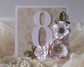 Pink white and gold wedding table numbers , wedding decorations , pink wedding, white and pink wedding decoration-Available in any colour!