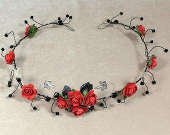 Gothic tiara, red rose crown, black wire hair vine, black crystal goth wedding headpiece, gothique diademe, black wire fantasy tiara