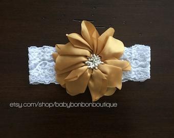 gold flower headband, vintage baby headband, big baby headband, big flower headband, flower girl headband