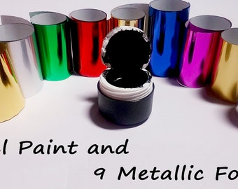 5 ml  Gel Paint and 9 Multi-Color Metallic Foils for Casting like  EMI Nail Art