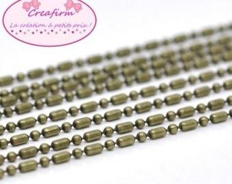 10 m alternating ball chain 1.5 mm Bronze